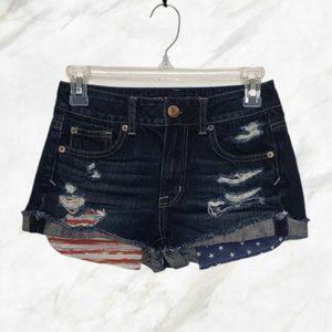 AMERICAN EAGLE blue distressed jean shorts size 00